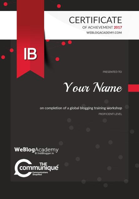 WeBlogAcademy Certificate